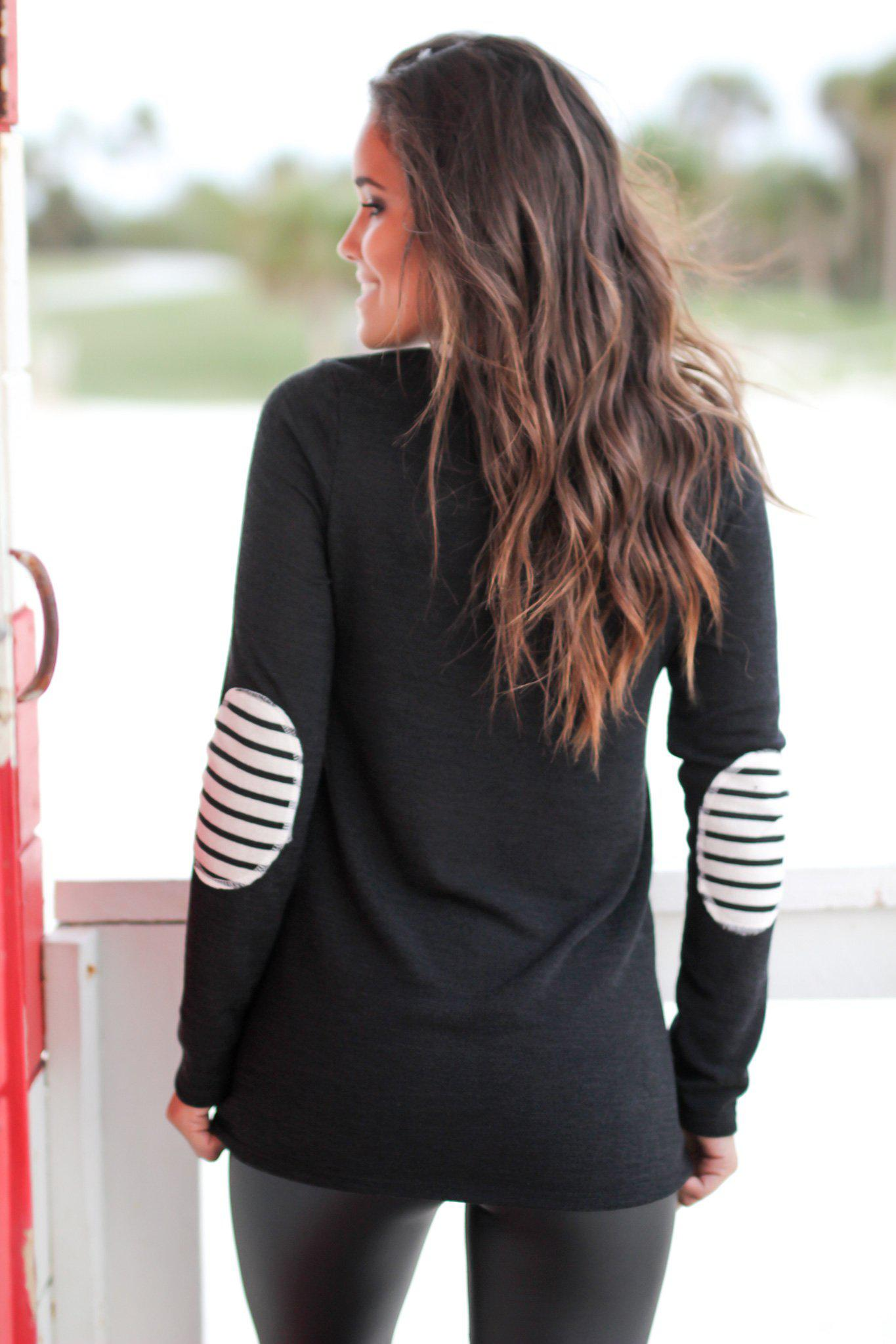 Black Color Block Top with Elbow Patches