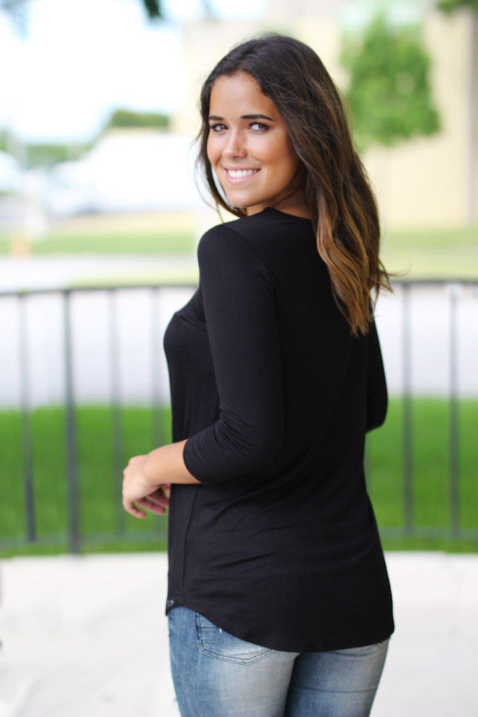 Black Criss Cross Top with 3/4 Sleeves