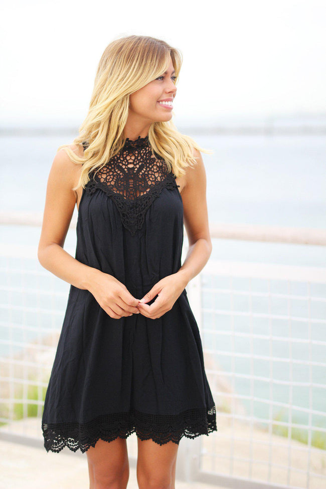 Black Crochet Short Dress