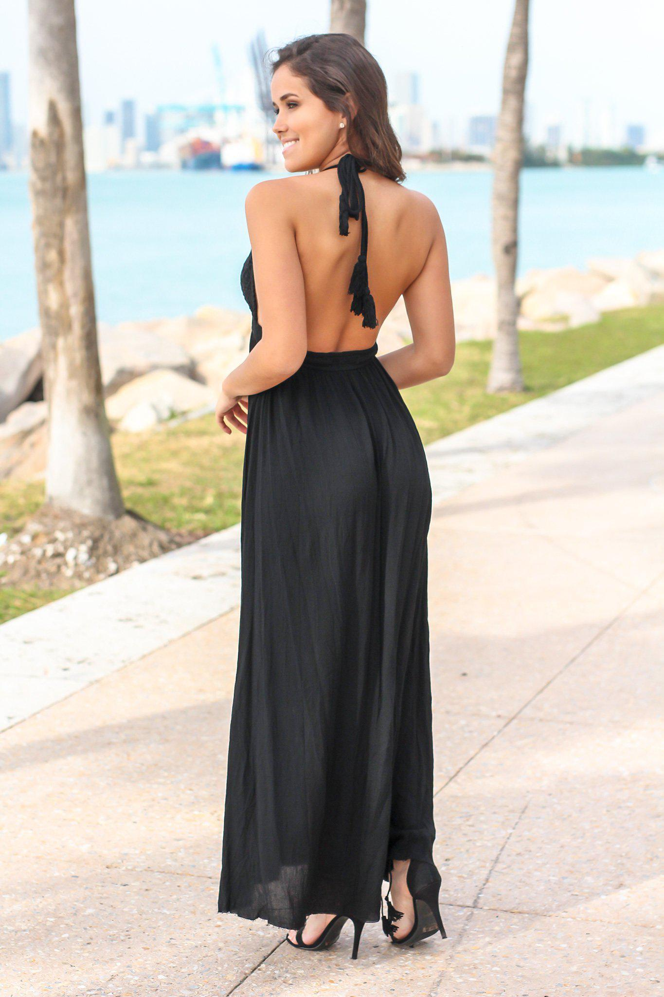 Black Crochet Halter Neck Maxi Dress