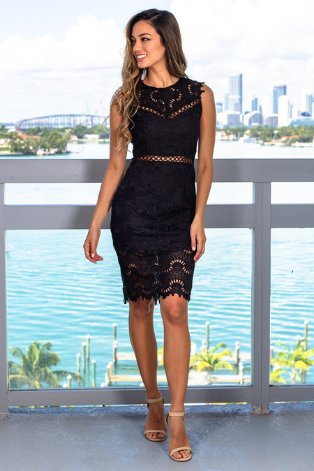 Black Crochet Laced Short Dress