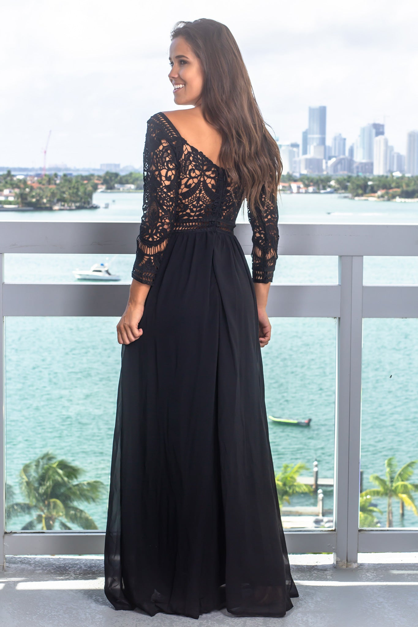 Black Crochet Maxi Dress with 3/4 Sleeves