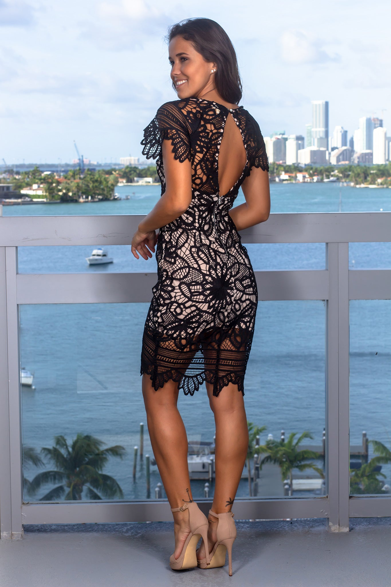 Black Crochet Short Dress with Open Back