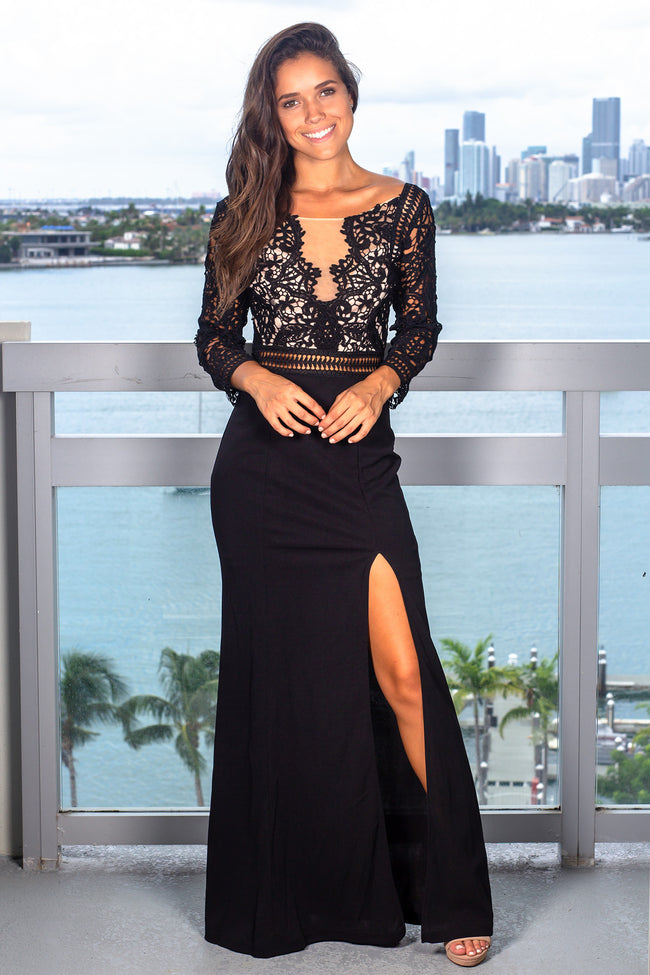 Black Crochet Top Maxi Dress with 3/4 Sleeves and Side Slit