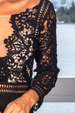 Black Crochet Top Maxi Dress with 34 Sleeves and Side Slit