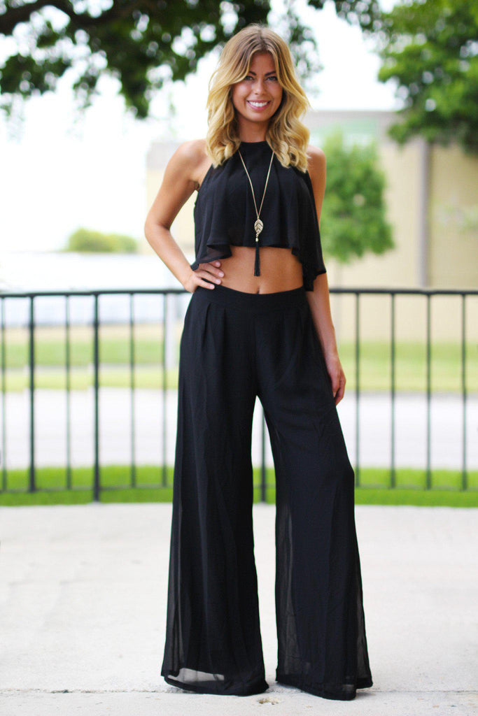 Black Crop Top and Pant Set