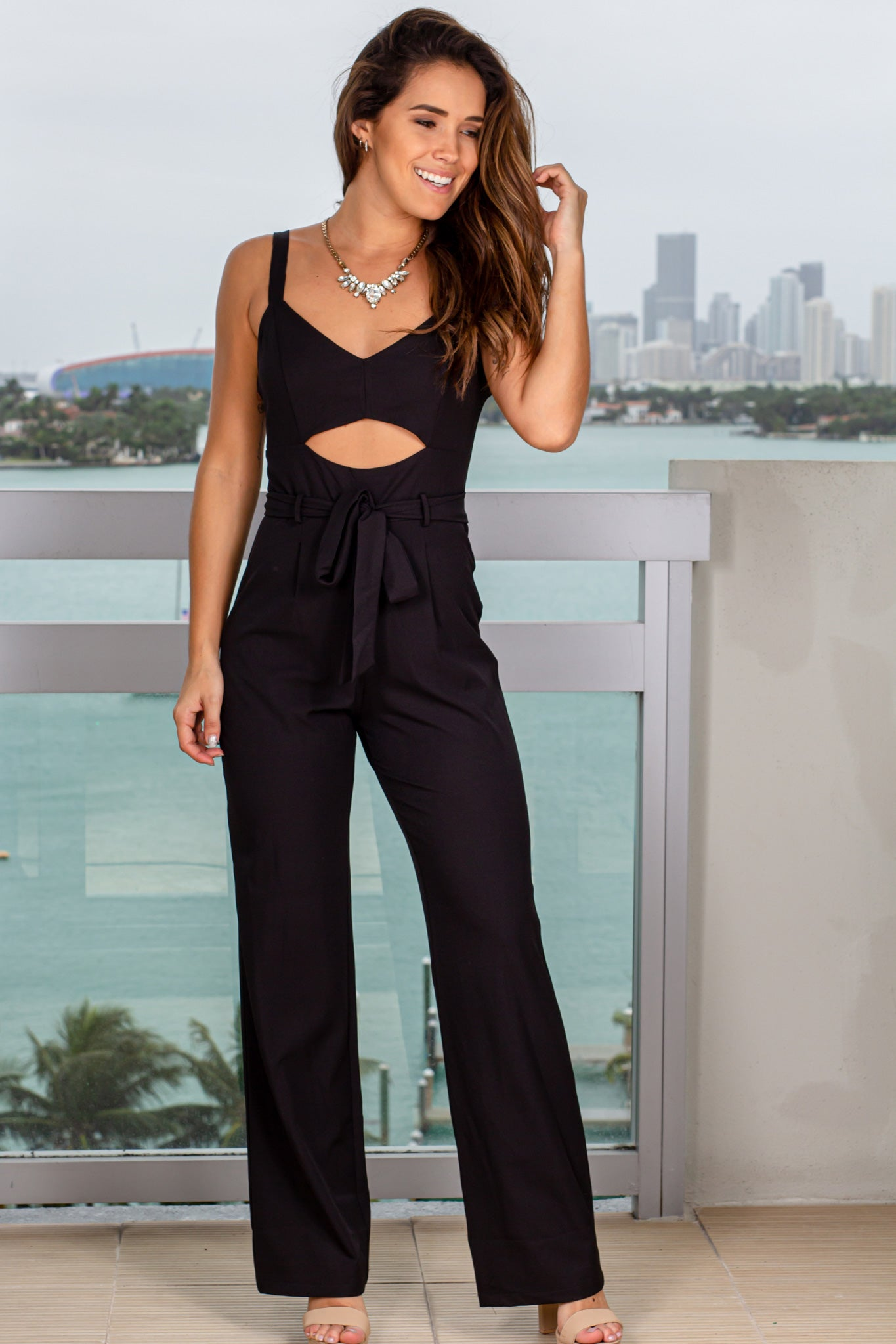Black Cut Out Jumpsuit with Tie Waist
