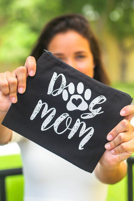 "Black ""Dog Mom"" Makeup Bag"