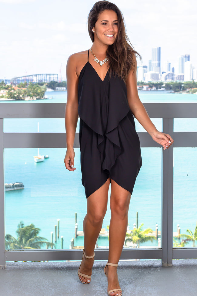 Black Draped Back Short Dress