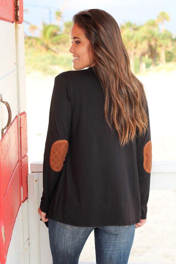 Black Draped Cardigan with Elbow Patches