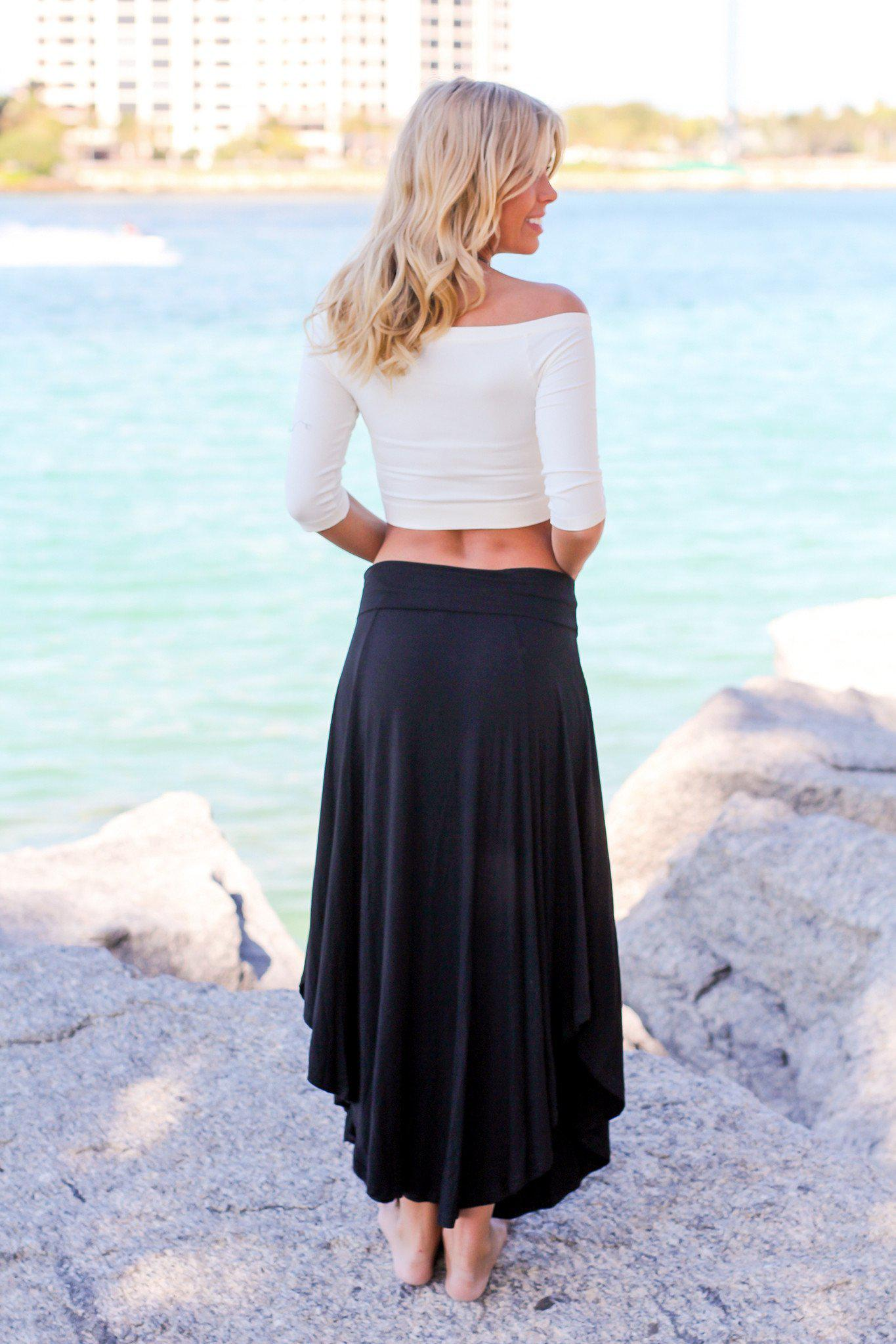 Black Draped Maxi Skirt