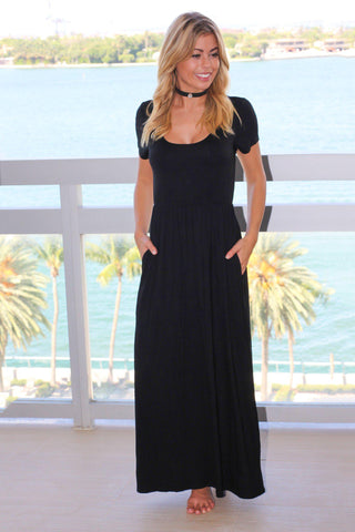 Black Maxi Dress with Short Sleeves