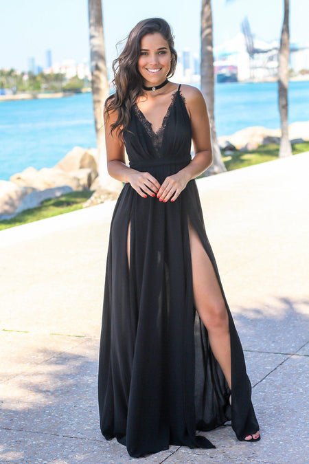 5e1cfe1c922 Black Dresses · Quick View · Black Maxi Dress with Criss Cross Back and Lace  Detail