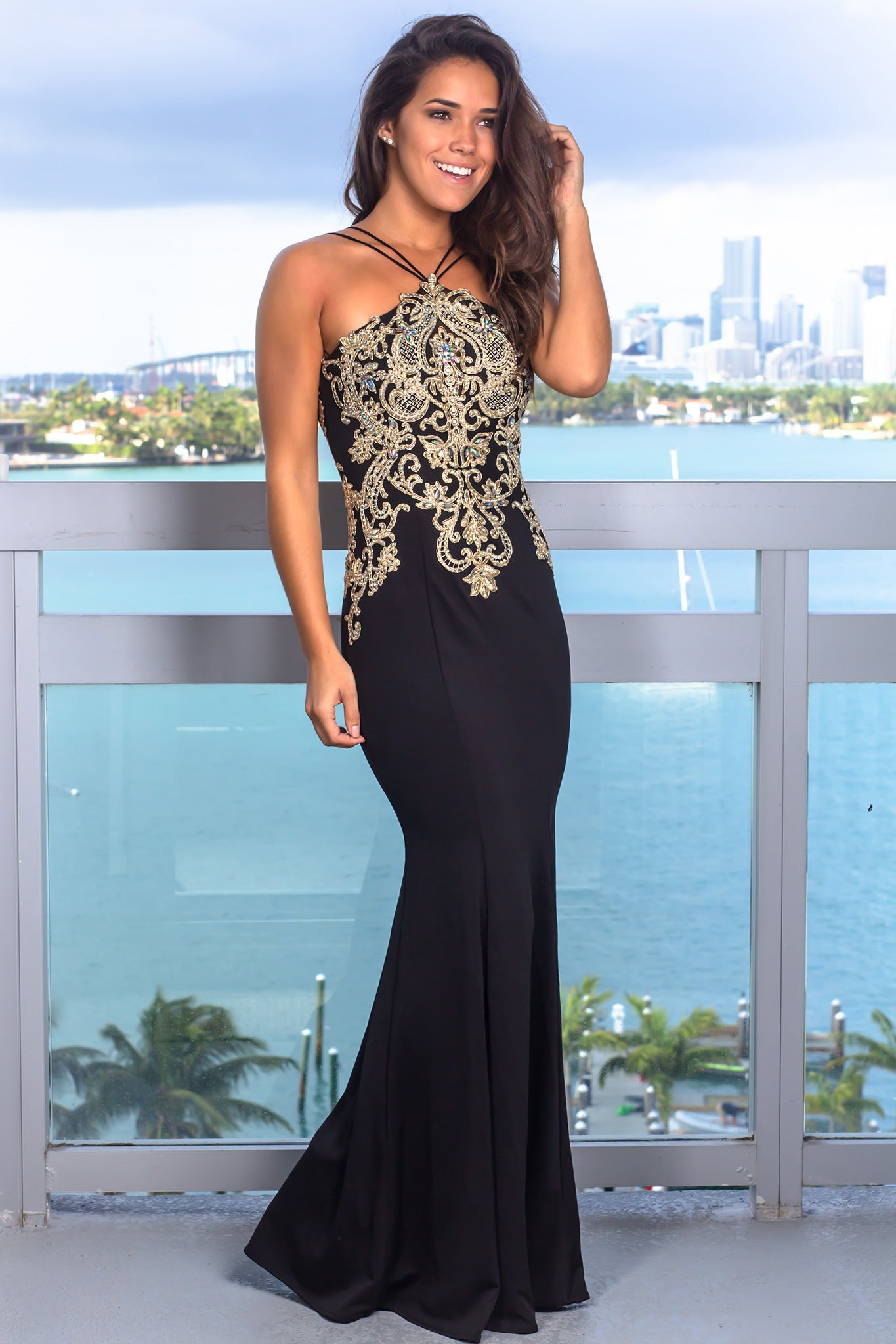 Black Embroidered Halter Neck Maxi Dress