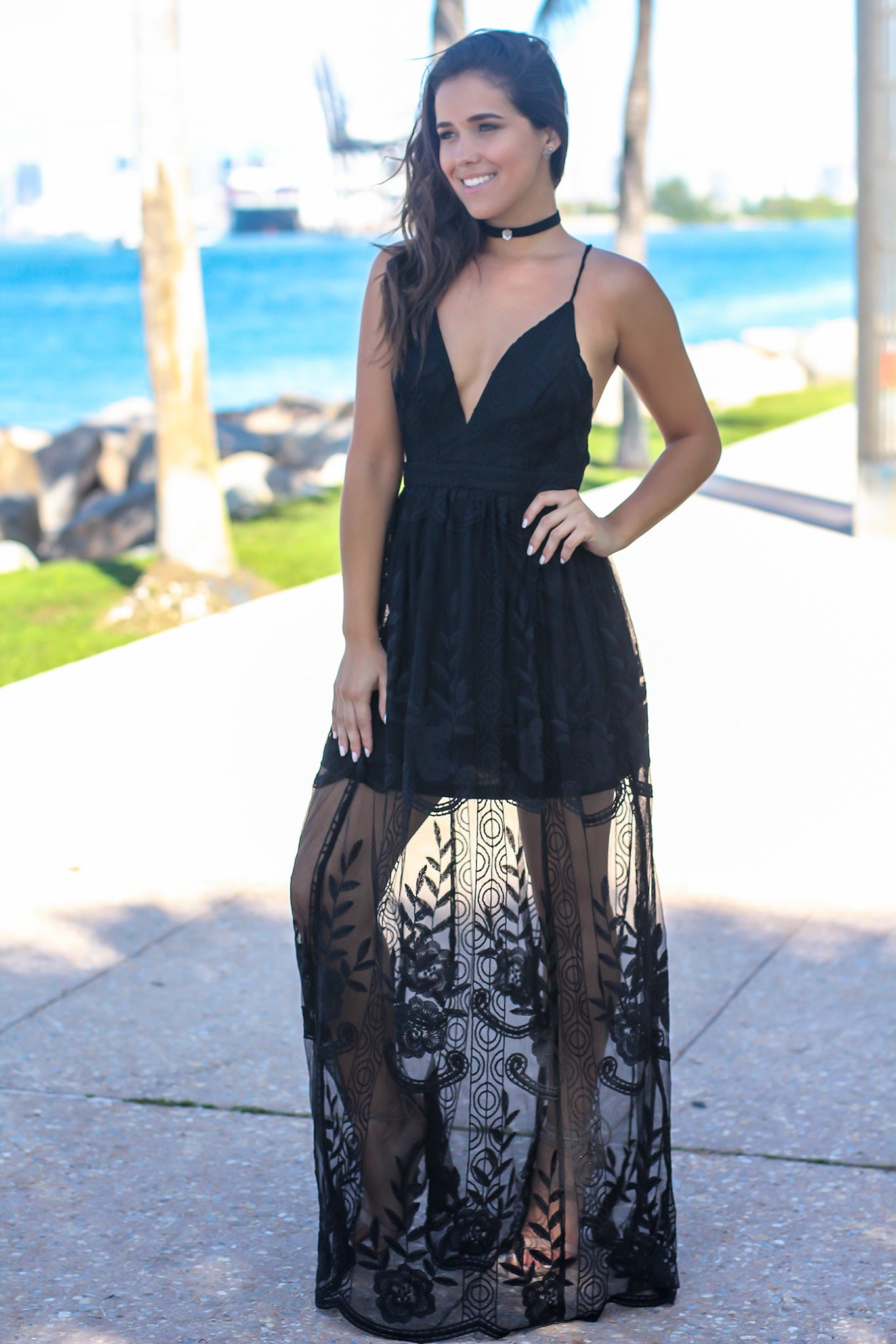 Black Embroidered Maxi Dress with Criss Cross Back