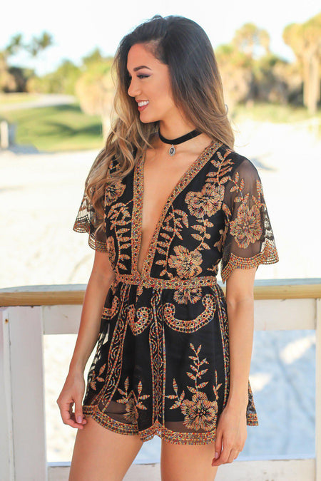 Black Embroidered Short Lace Romper