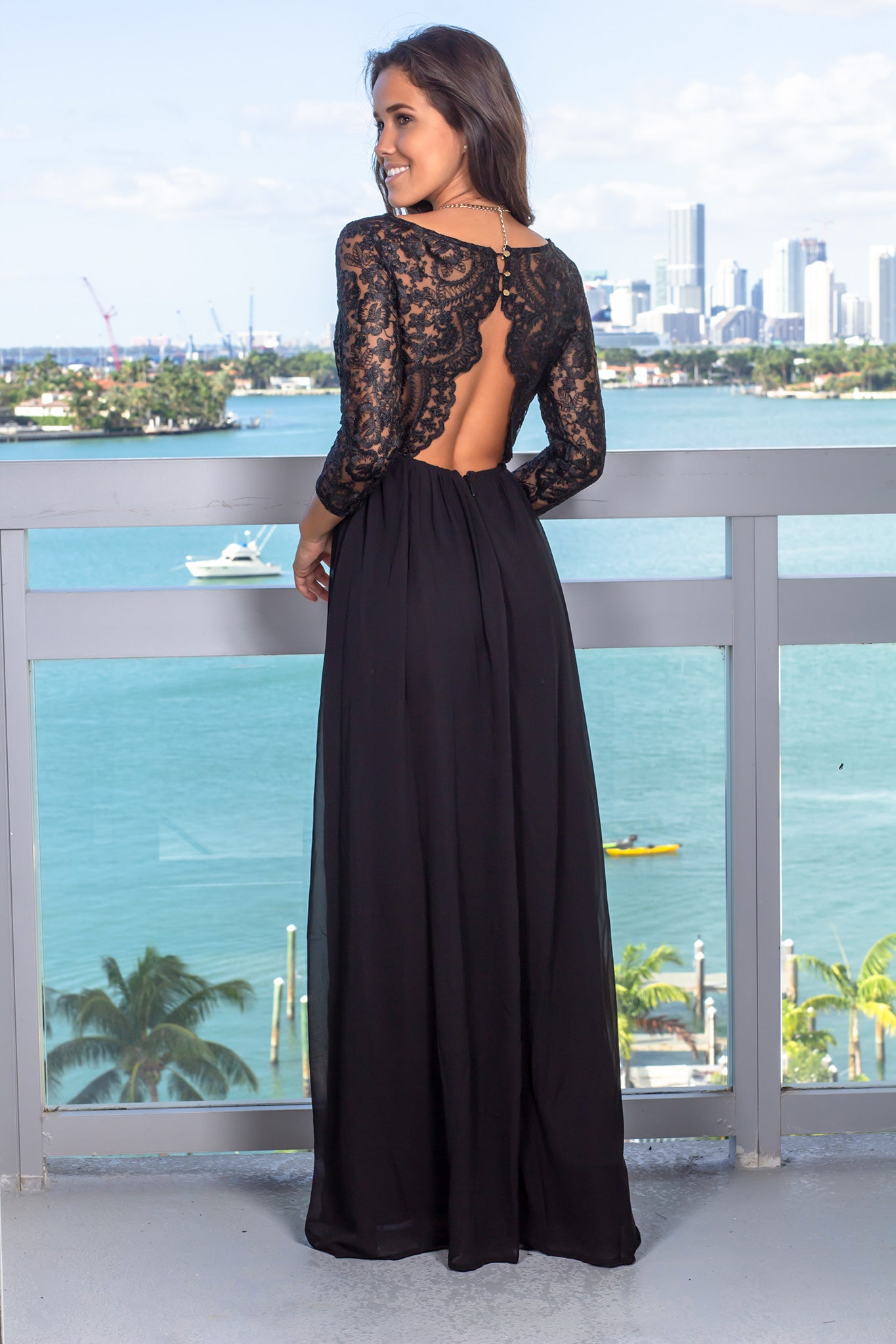 Black Embroidered Top Maxi Dress with 3/4 Sleeves