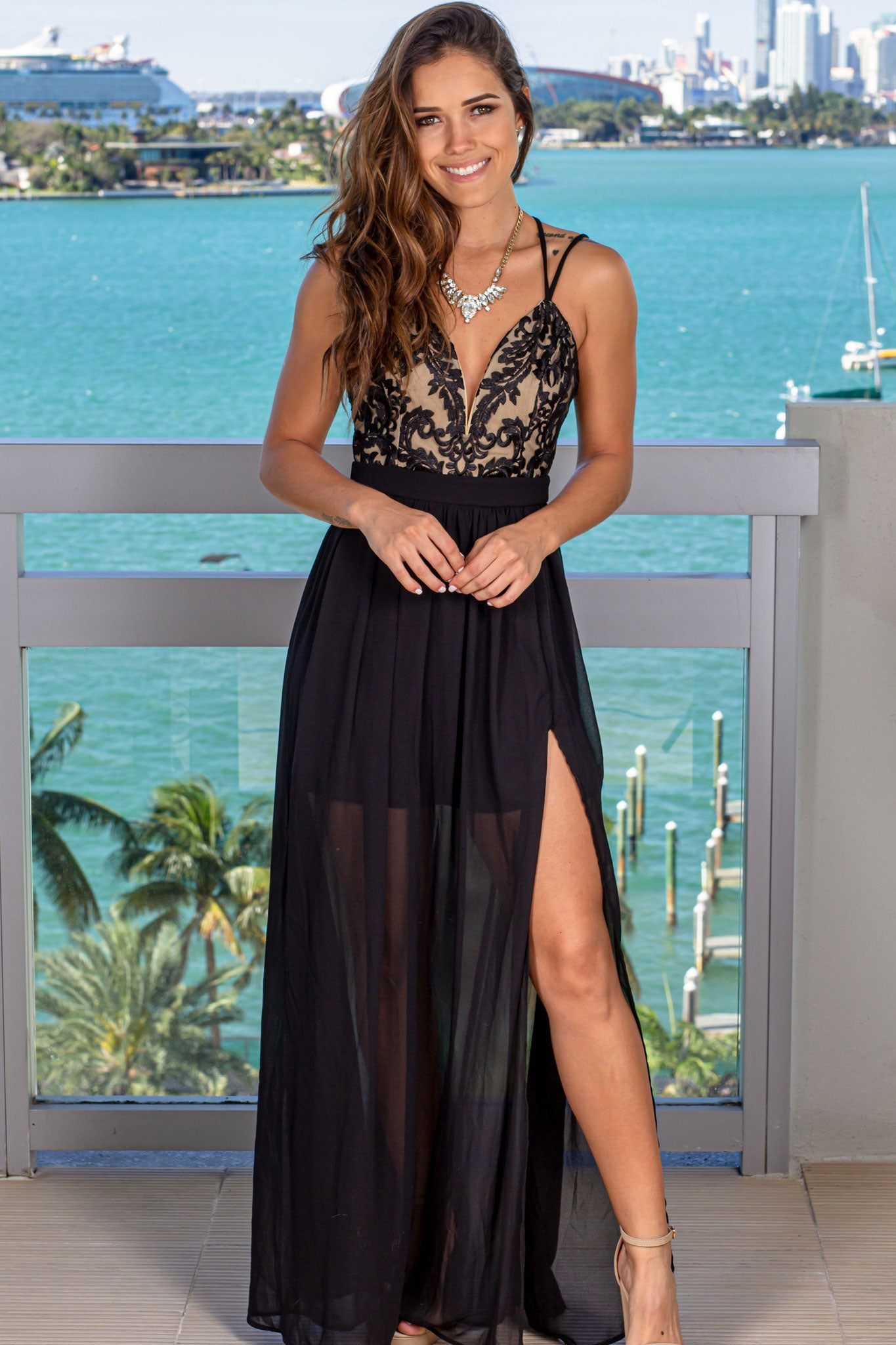 Black Embroidered Top Maxi Dress with Criss Cross Back
