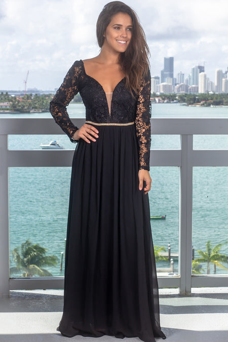 Black Embroidered Top Maxi Dress with Jewel Detail and Sleeves