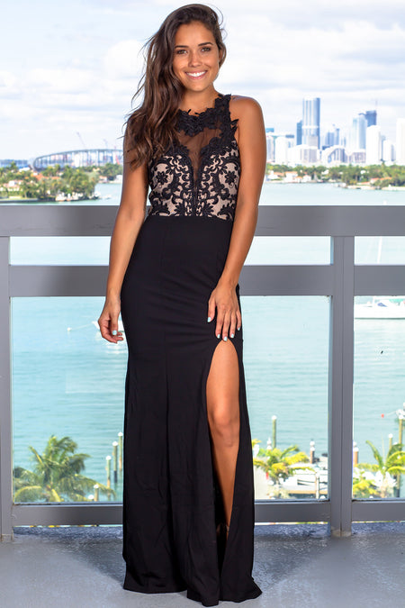 Black Embroidered Top Maxi Dress with Side Slit