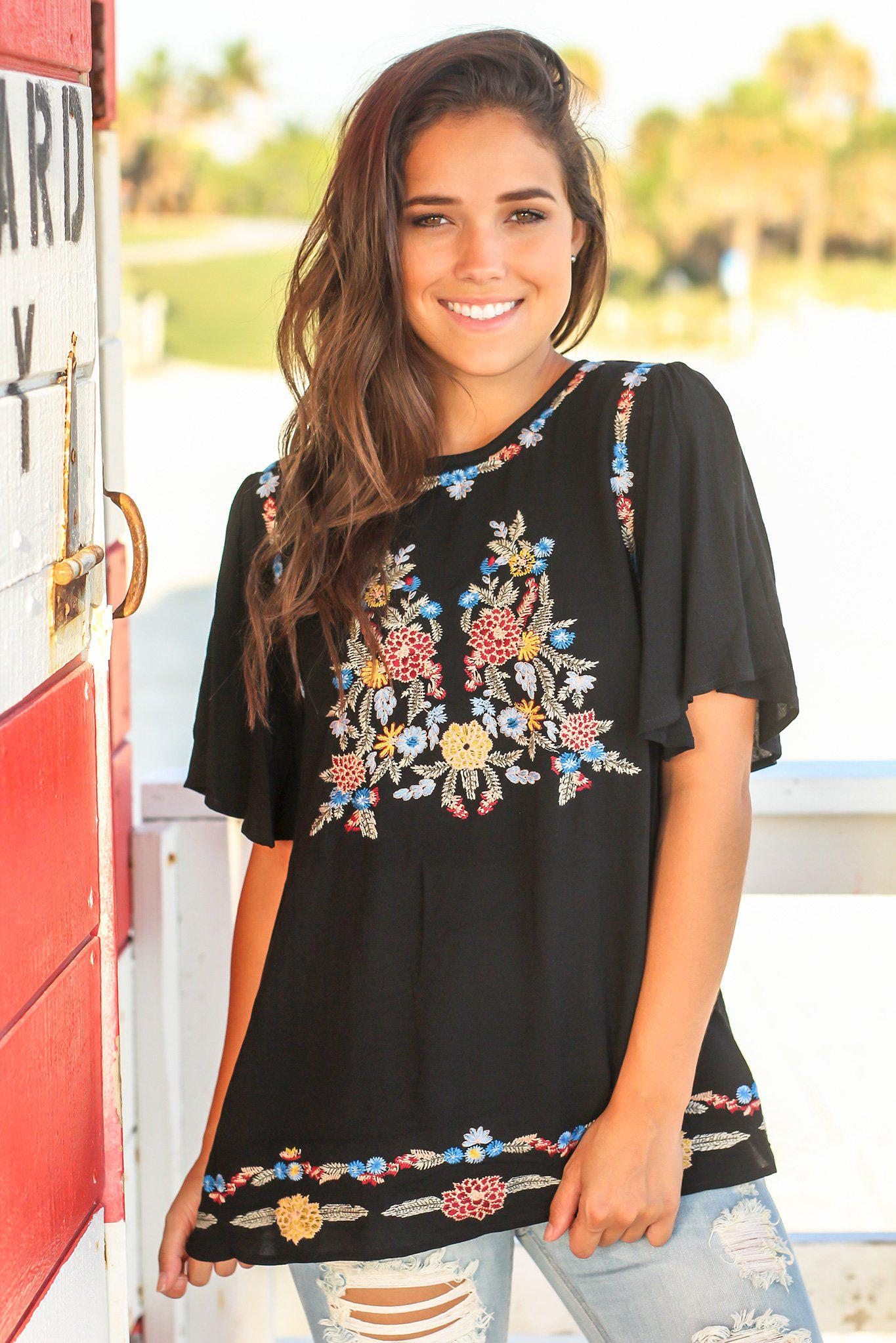 Black Embroidered Top with Ruffled Sleeves