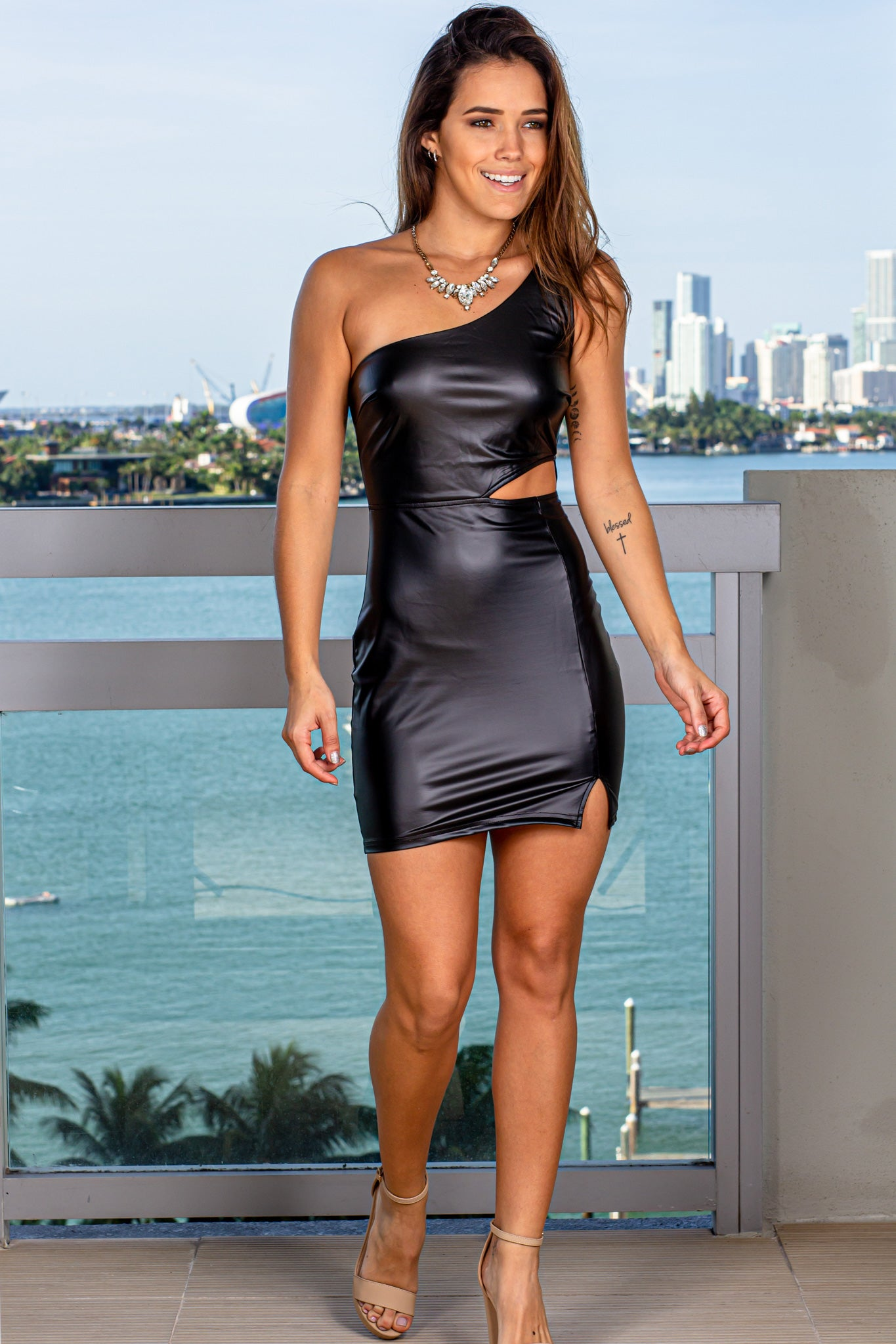 Black Faux Leather Cut Out Short Dress