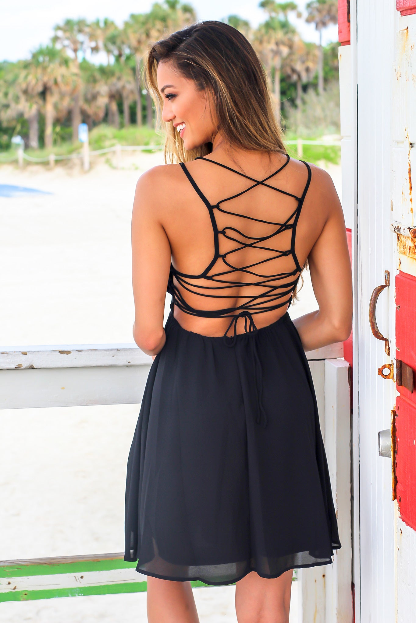 Black Flared Short Dress with Lace Up Back
