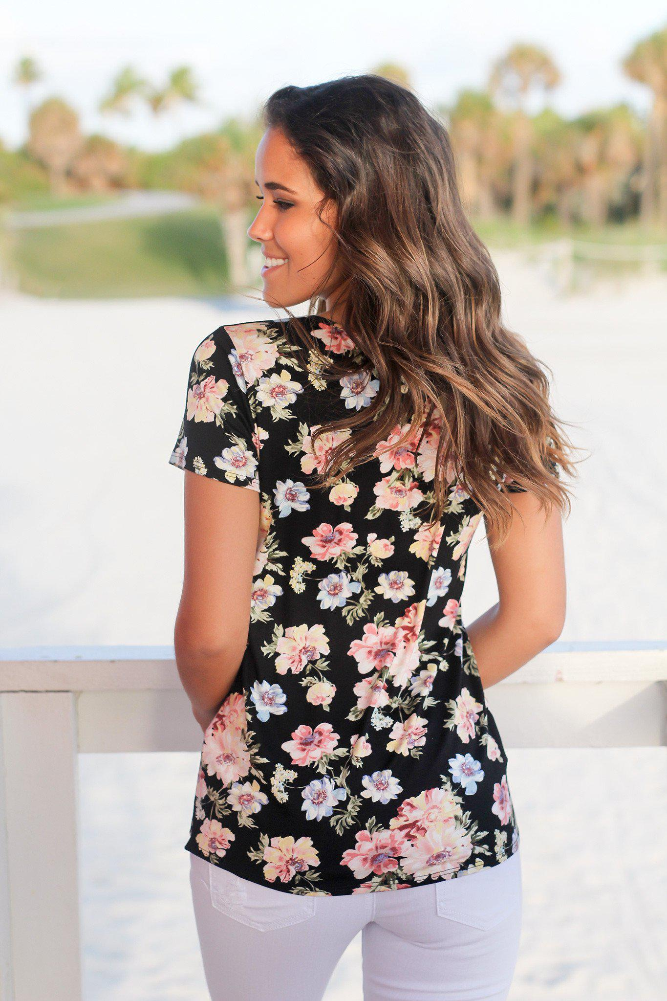 Black Floral Criss Cross Top with Short Sleeves