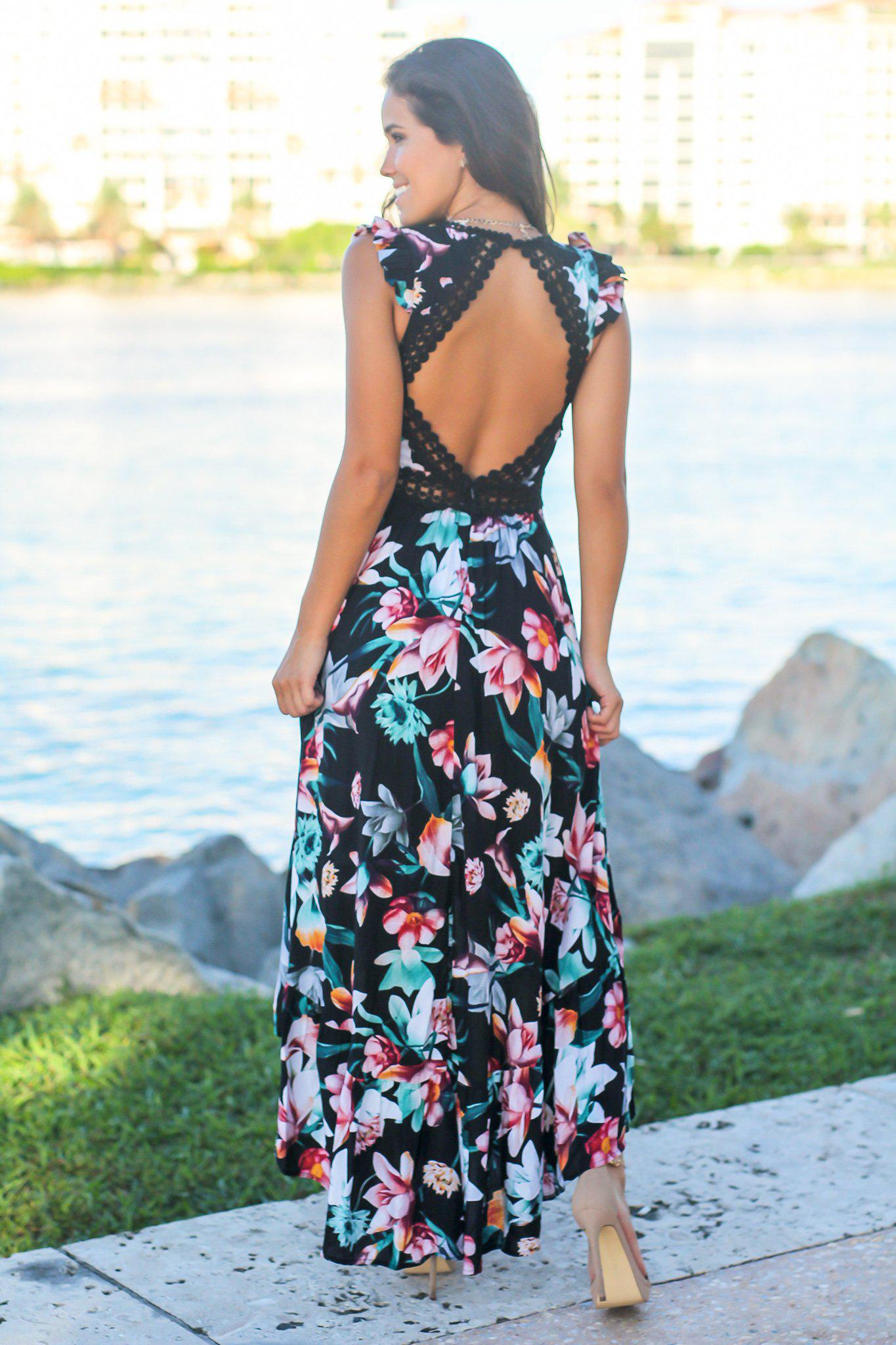 Black Floral High Low Dress with Crochet Open Back Detail