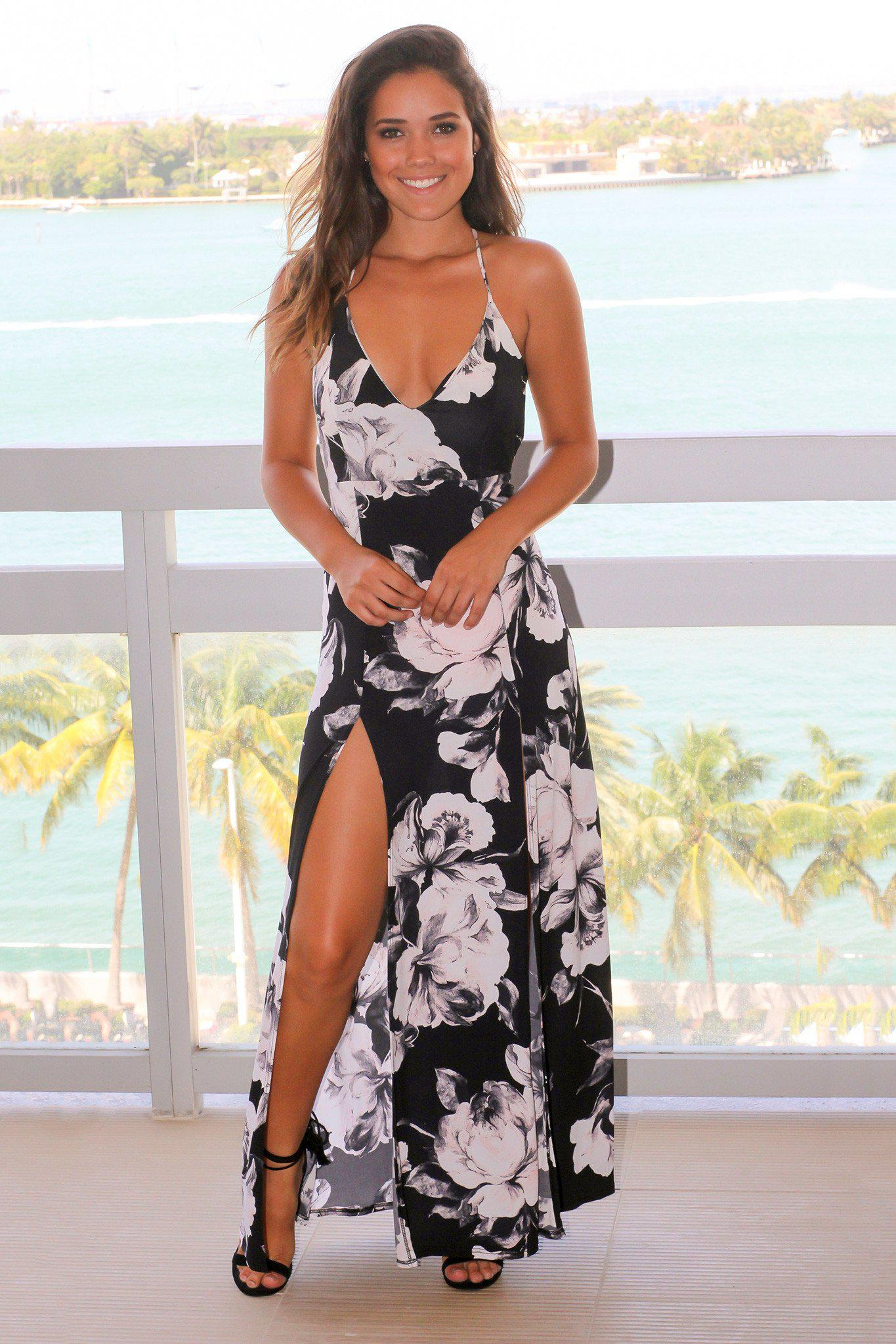 Black Floral Maxi Dress with Front Slits