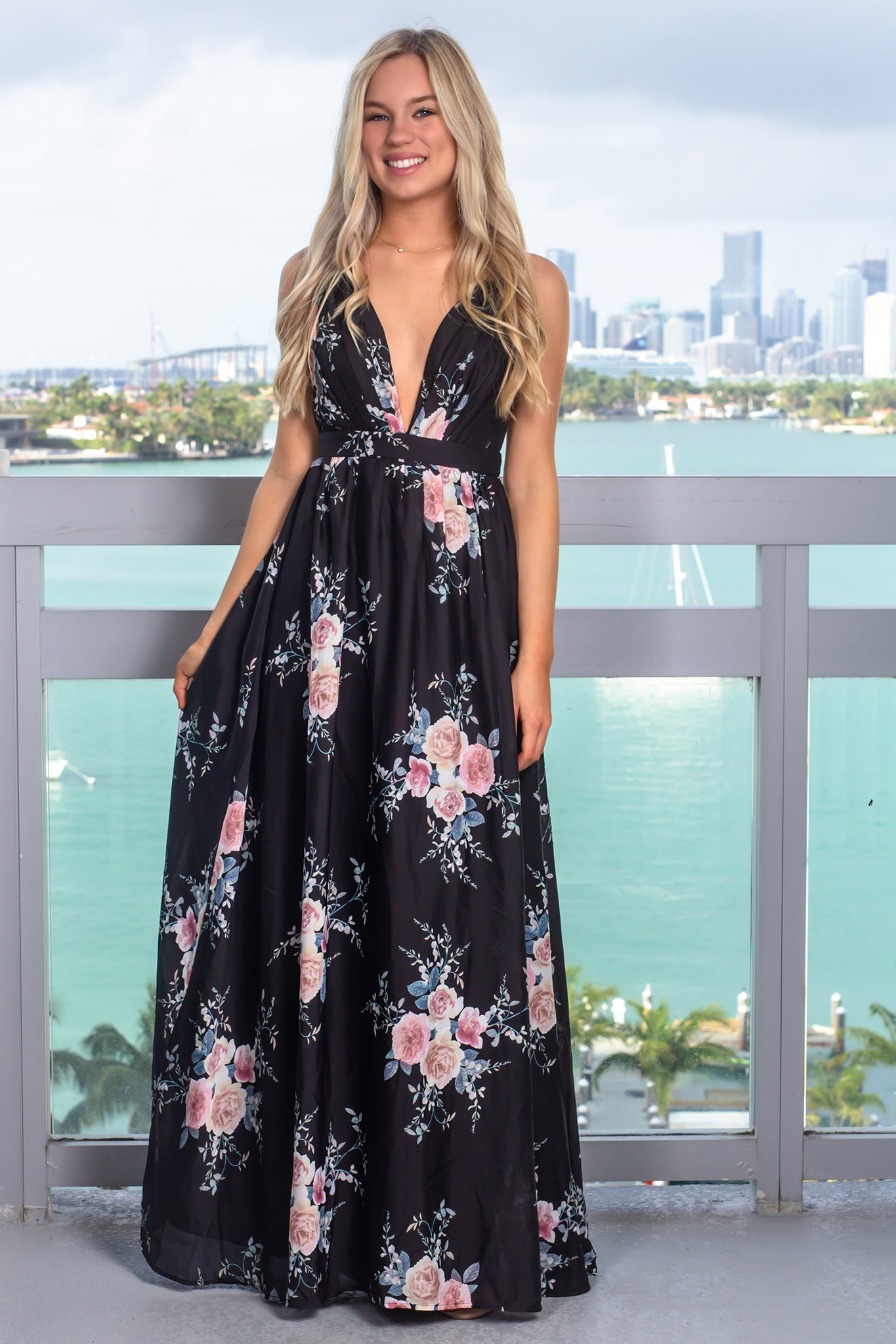 Black Floral Maxi Dress with Pleated Top