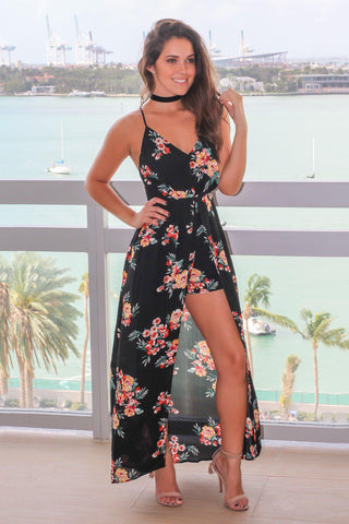 Black Floral Maxi Romper with Strappy Back
