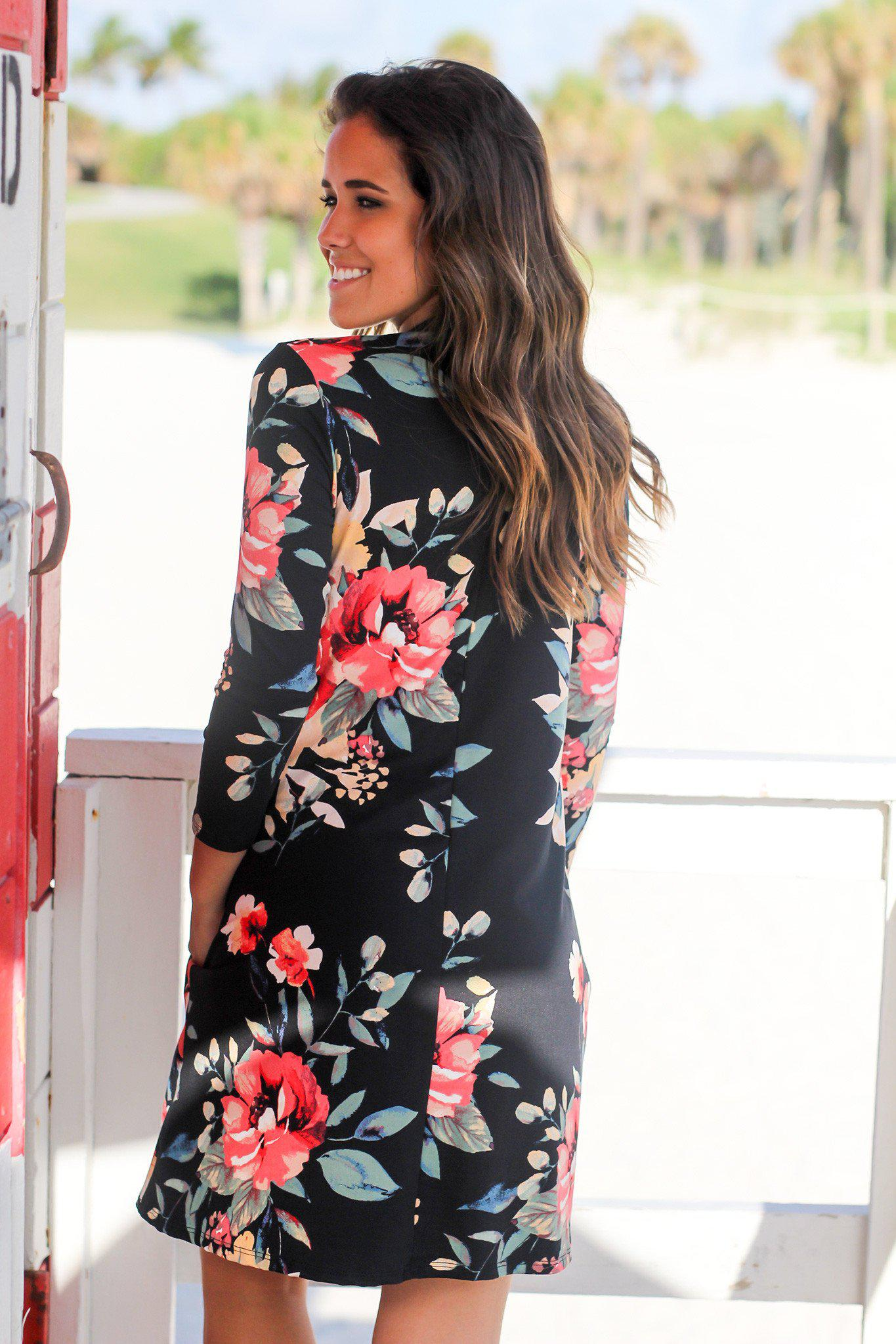 Black Floral Mock Neck Short Dress