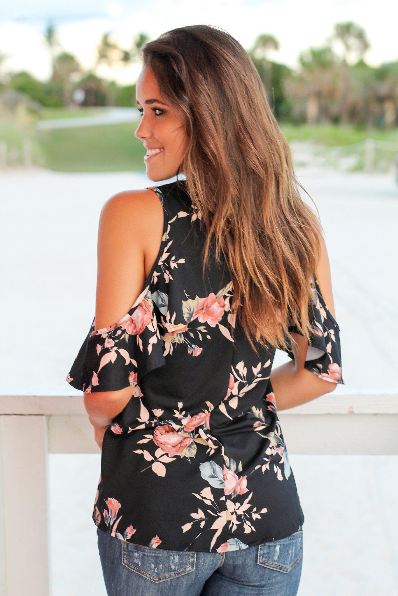Black Floral Open Shoulder Top