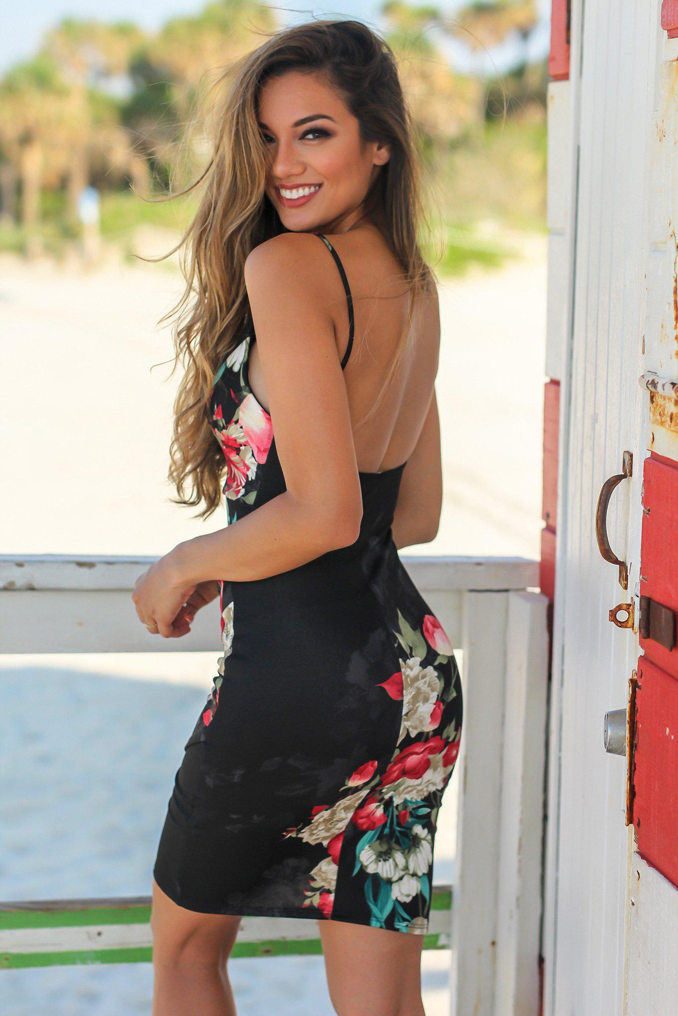 Black Floral Short Dress with Ruched Side