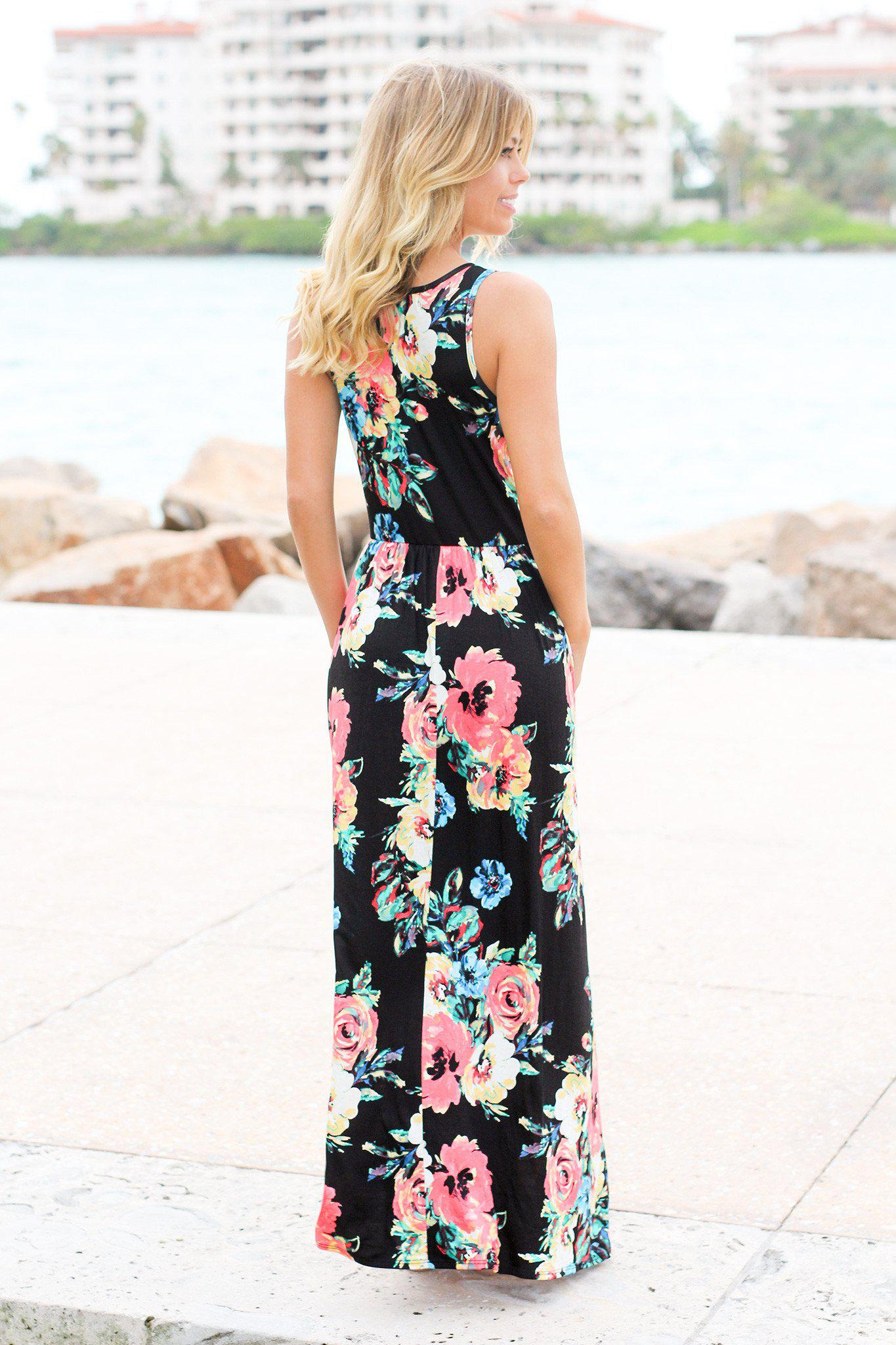 Black Floral Sleeveless Maxi Dress