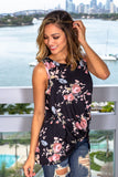 Black Floral Top with Front Twist