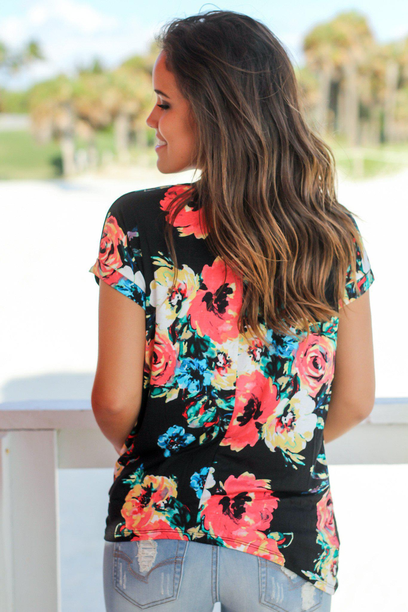 Black Floral Top with Knot