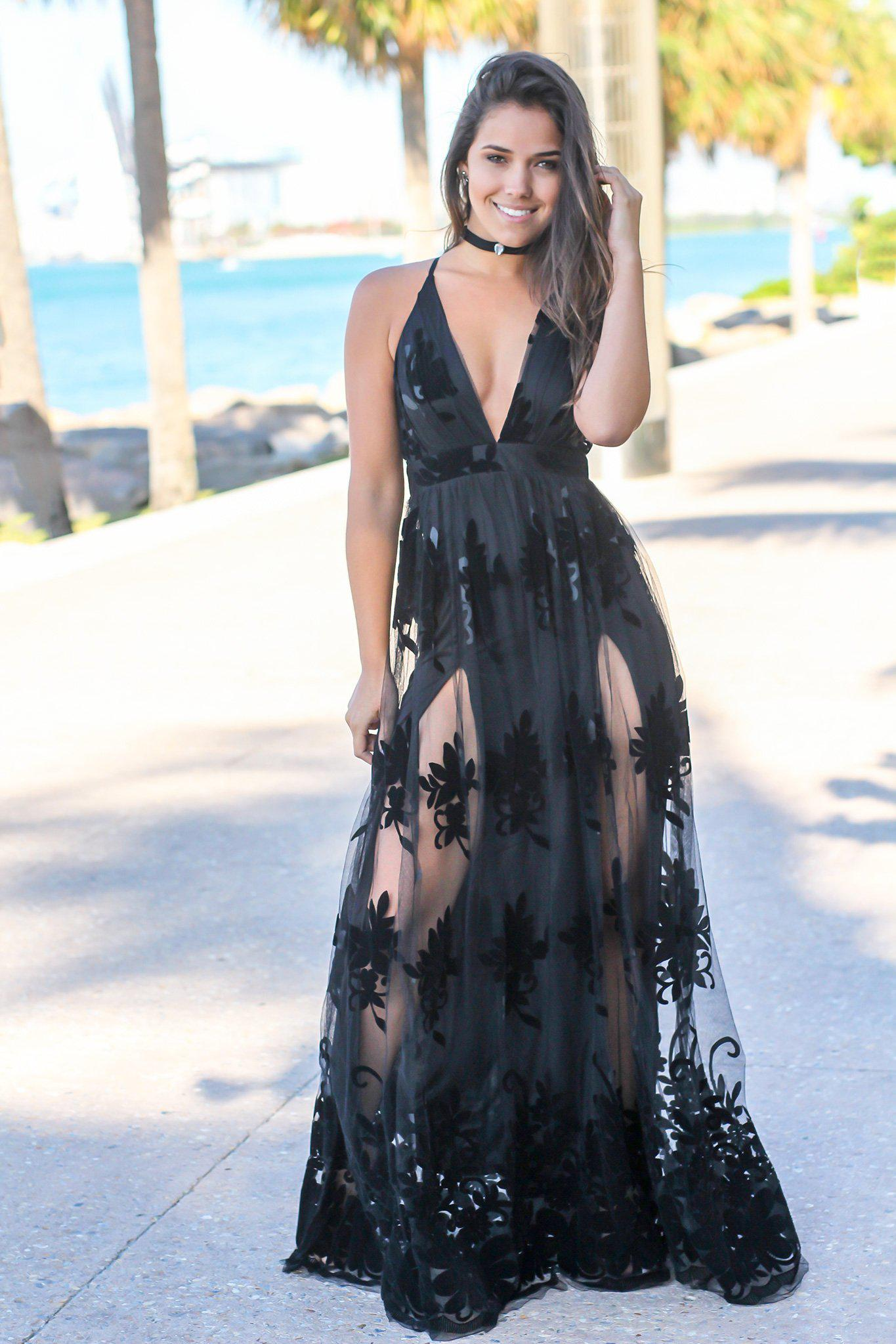 Black Floral Tulle Maxi Dress with Criss Cross Back