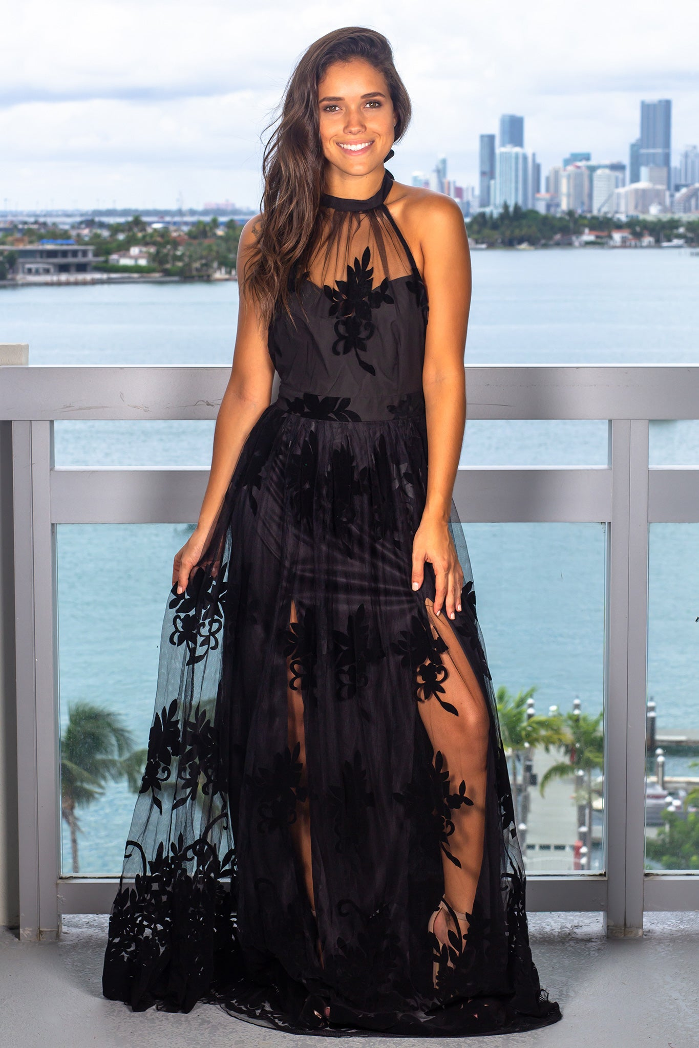 Black Floral Tulle Maxi Dress with Halter Neck