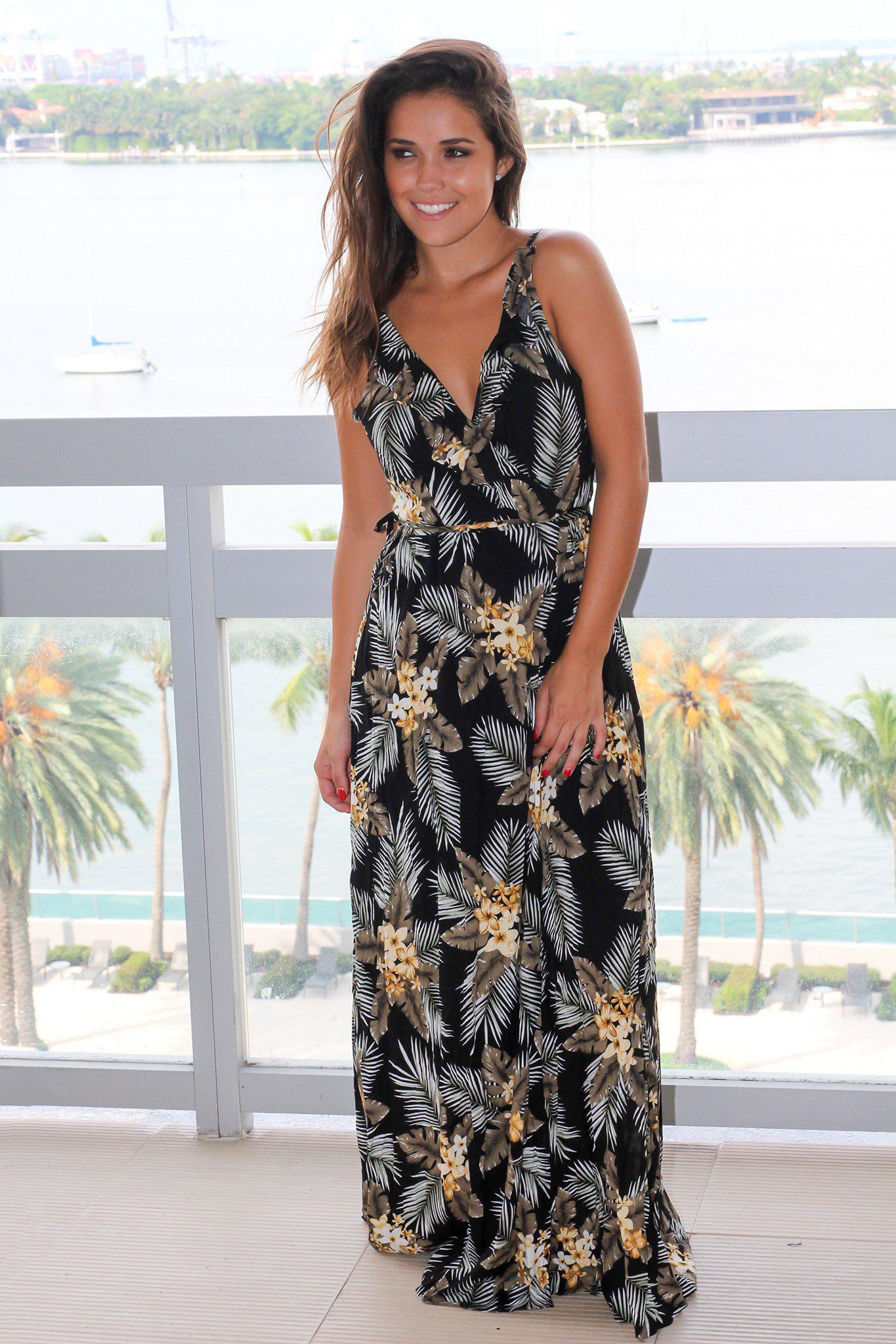 Black Floral Wrap Dress with Criss Cross Back
