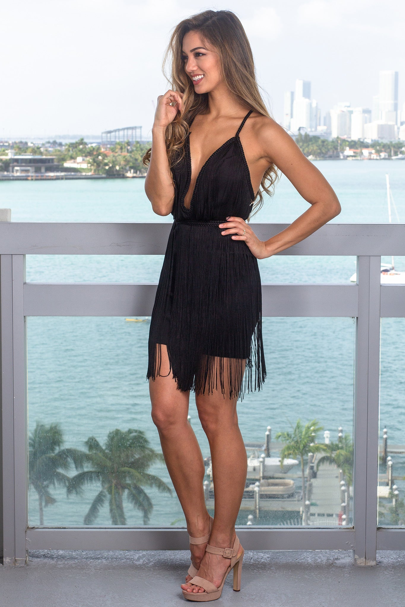 Black Fringe Short Dress