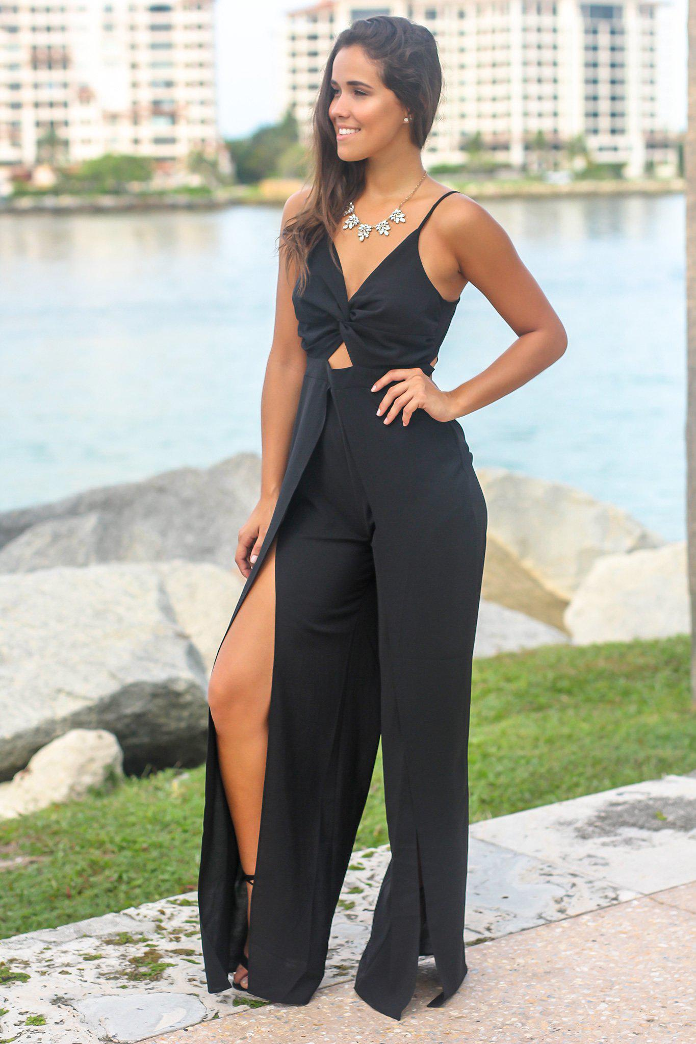 Black Front Twist Jumpsuit