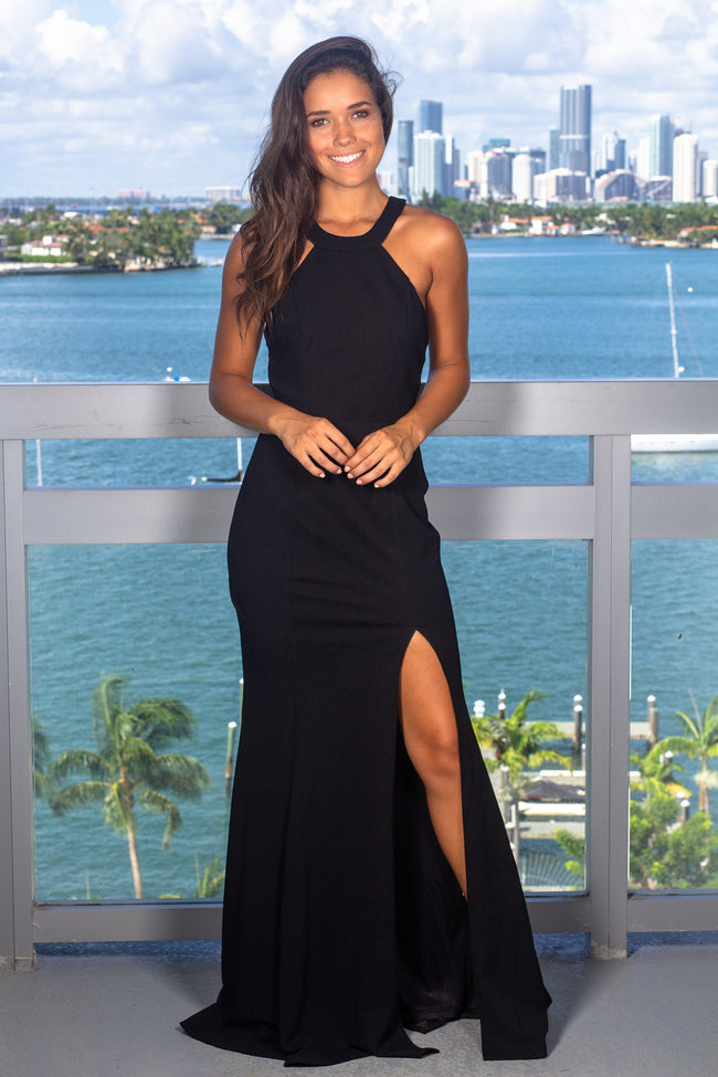 Black Halter Neck Maxi Dress with Lace Detail