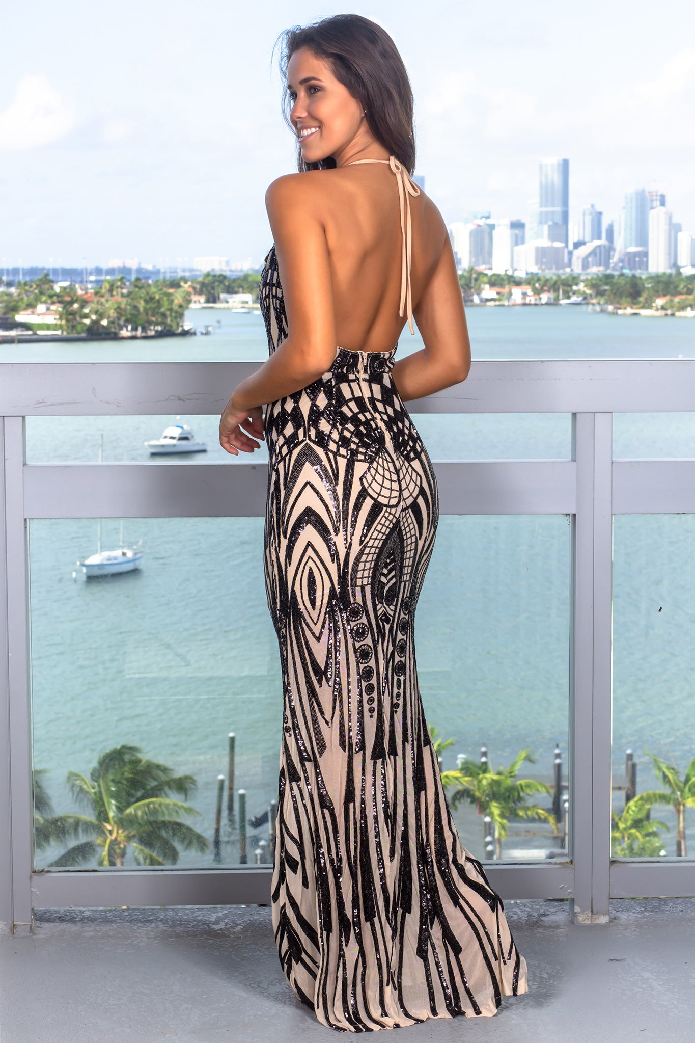 Black Halter Neck Sequin Maxi Dress