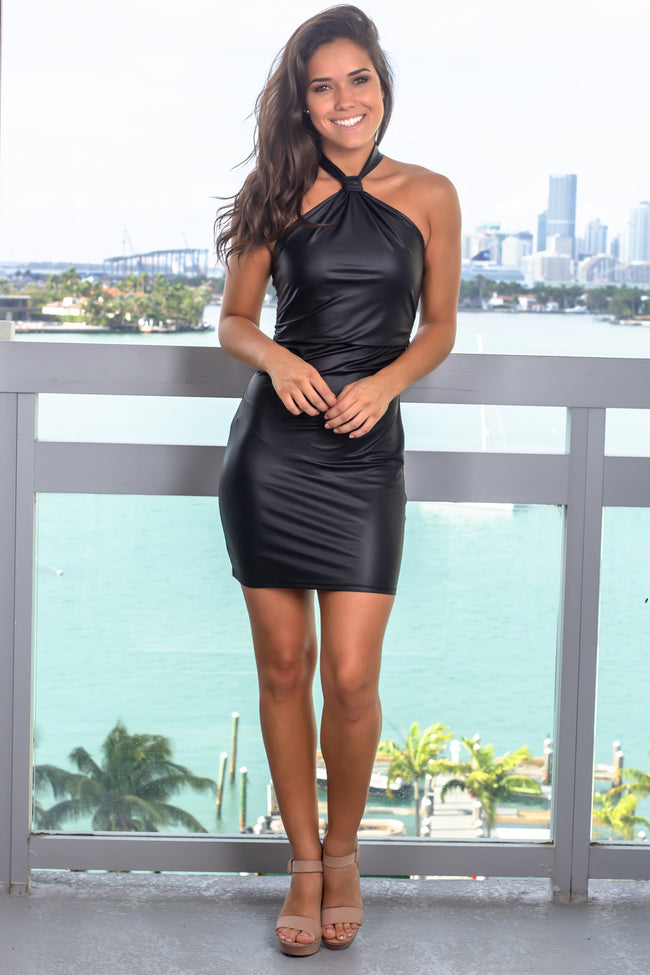 Black Halter Neck Short Dress