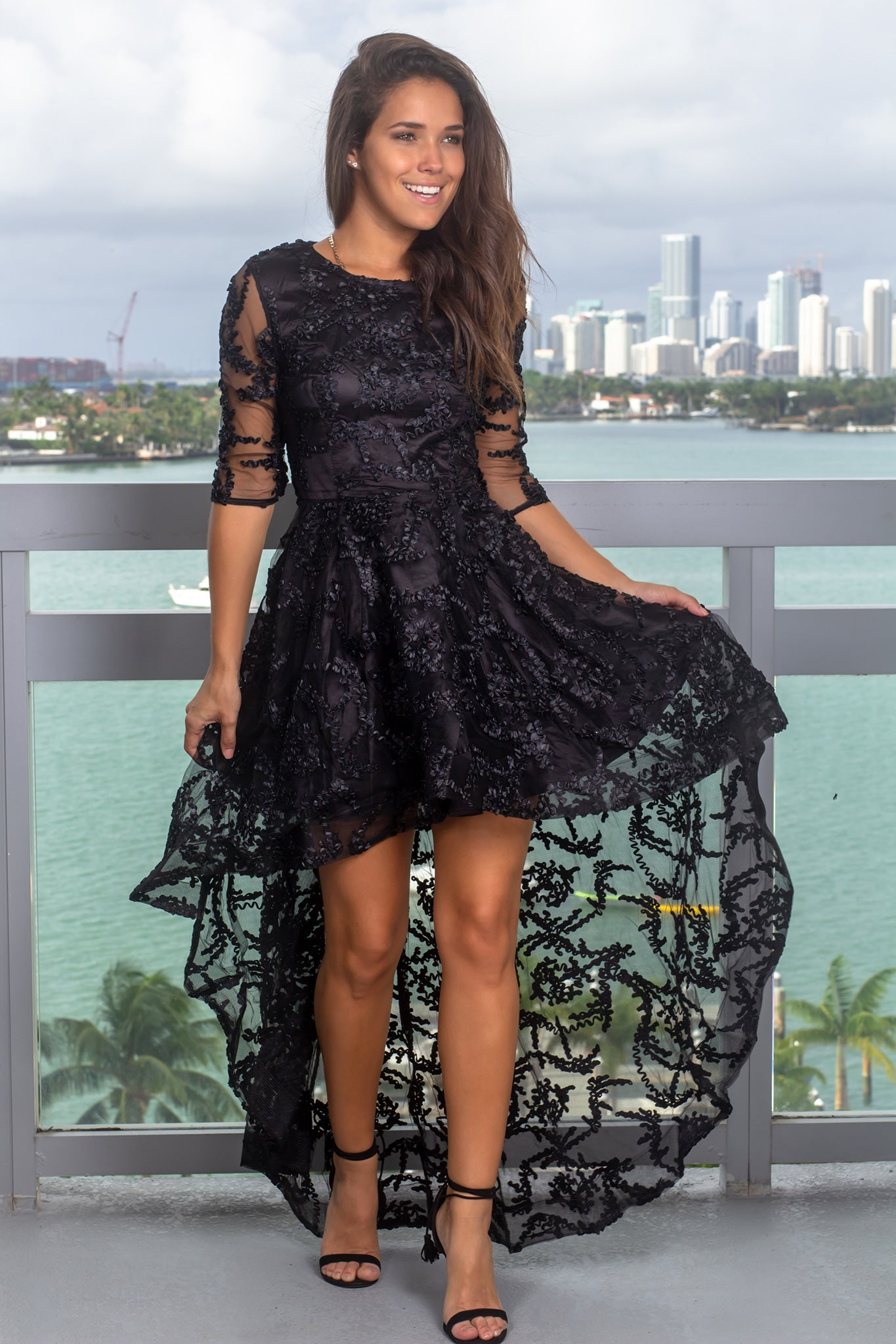 Black High Low Dress with 34 Sleeves