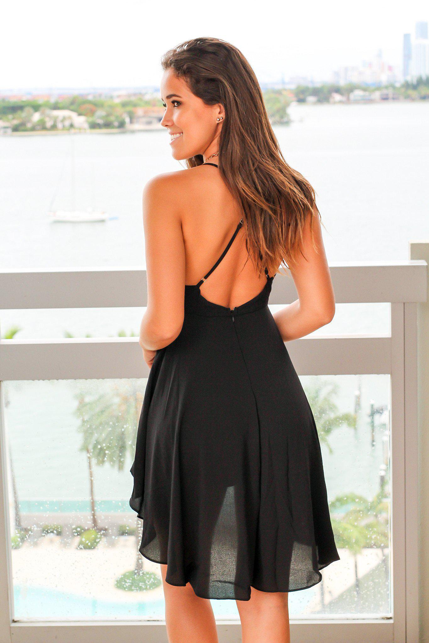 Black High Low Romper