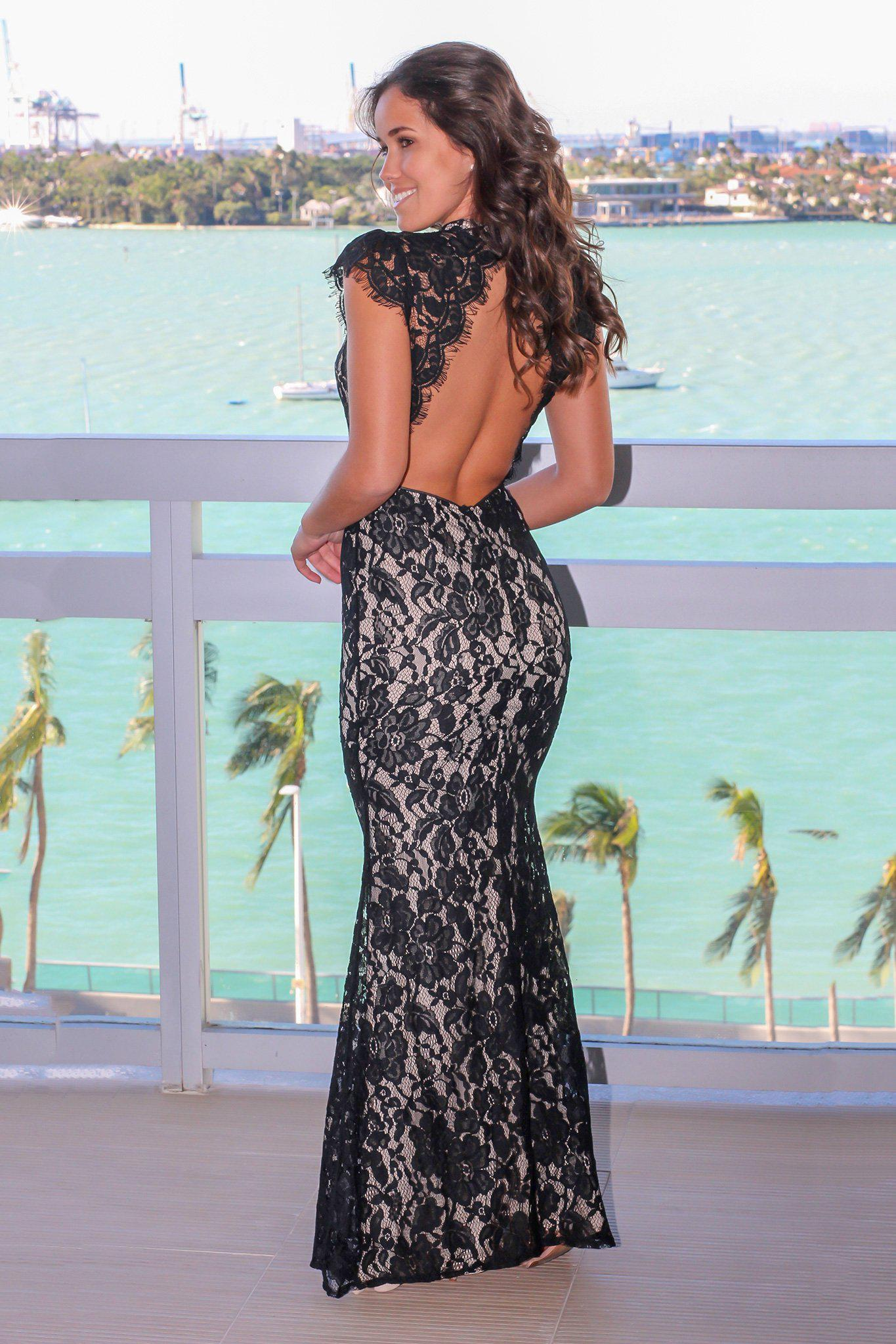 Black High Neck Lace Maxi Dress with Open Back