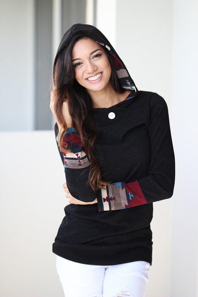 Black Tunic With Aztec Hoodie